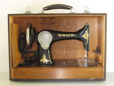 Old Singer 99K hand sewing machine in travel case, 1939