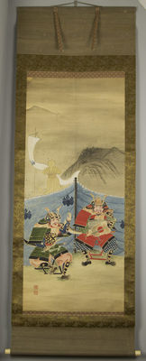 Scroll painting, Samurai, hand-painted - Japan - 19th century