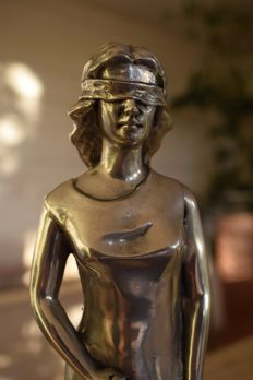 Tin Sculpture of Lady Justice - 20th century
