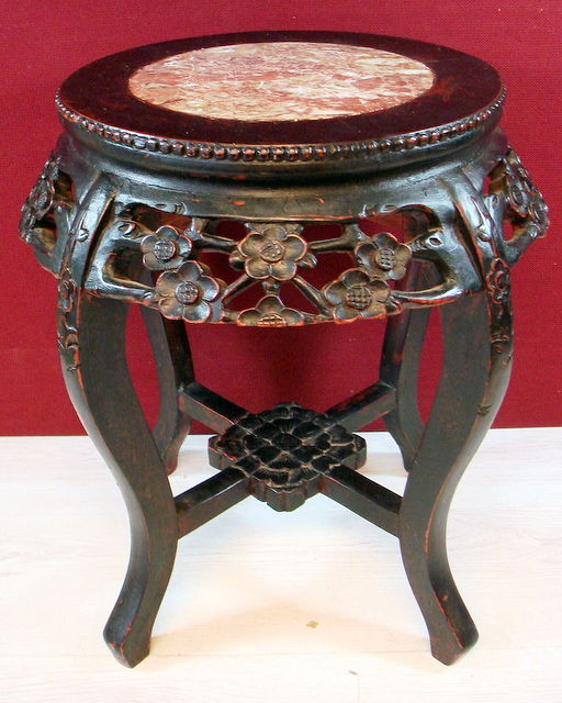 Chinese Side Table.Hand Carved Antique Hardwood Side Table With Marble Top China