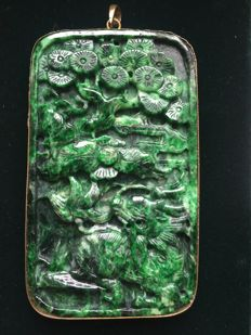 Green vintage Jadeite hand carved pendant with a dragon/phoenix, 94 grams