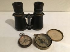 Lot with 2 compasses and binoculars