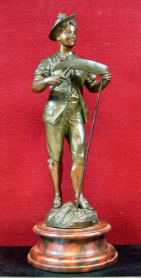 "Bronze sculpture ""Man with Scythe"", height 41 cm"