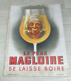Vintage advertising sign from c.1940 - Le père Magloire - Decoration - provided with old stamps