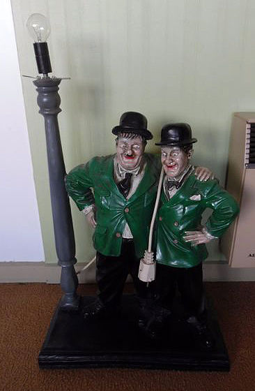 Laurel and Hardy with lamp large format color green and black in ...