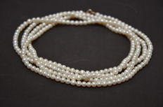 Endless pearl  Akoya necklace (147cm)  – clasp 14Kt gold