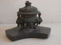 Ancient bronze Inkwell with Black Marble base with representations of Harpies and Mythological figures