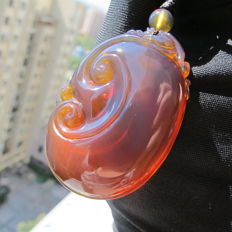 Natural Burma Amber carved Ruyi pendant, weight: 21.8 grams, no reserve price