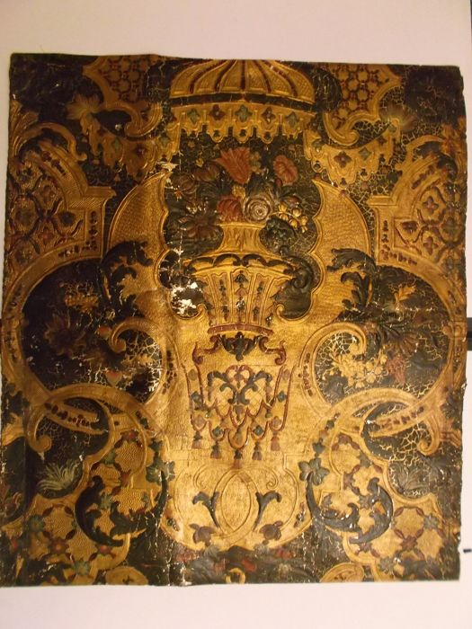 Embossed and parcel gilt leather wall panel - probably Netherlands - early 18th century