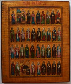 Russian orthodox iсon, Menaion , Month of February, hand painted, tempera, wood.