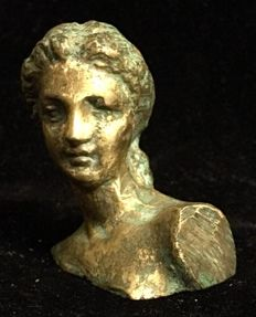 A , mid 20th Century , bronze bust sculpture of a naked classic venus