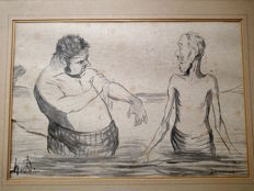 Honoré Daumier (1808-1879) (attributed to) - Les baigneurs