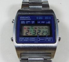 Seiko M929-4000 - Blue Face - LCD Chronograph - 1980 - Men's Wristwatch