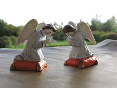 Bisque set of 2 antique angels - Italy - mid 1800