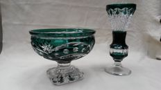 Val St. Lambert - emerald green bowl and vase