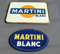 "2 metal advertising plates for ""MARTINI"", dated 1957, 1964 (not in cardboard)"