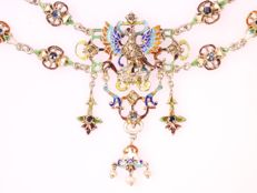 Antique Austrian, Hungarian enameled silver necklace anno 1880 -  fine reproduction of a renaissance piece.