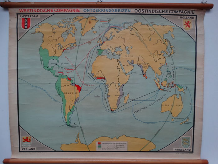 World map of the voyages of discovery, Dutch West Indies Company ...