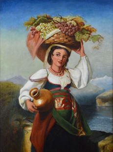 Continental school (19th century) - A young woman carrying basket of fruit