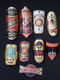 Collection of 9 Nice Bicycle Head Badges, with some rare ones including - Baby and Vermeulen Cycles