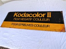Large old enamel metal sign / advertising sign / Kodacolor II with the dimensions 90 x 33 cm