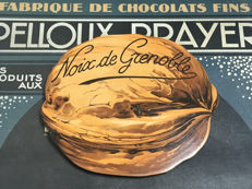 Vintage advertising plate from c. 1940 - Pelloux Prayer Noix de Grenoble - Decoration