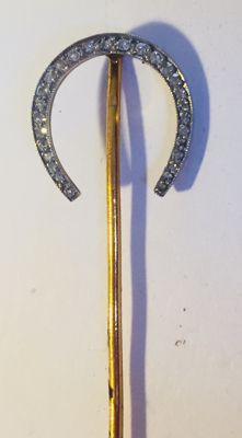 Gold original tie-pin with 27 diamonds, old cut, France, ca. 1900