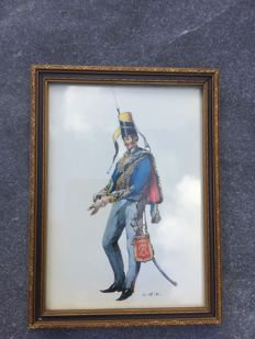 Lithograph of an officer from the Kingdom of Prussia (1840/1845)