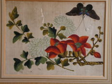 Lot of 5 watercolours on rice paper - Flowers and butterfly patterns - China - End of the 19th century