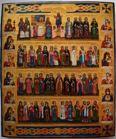 Russian orthodox iсon, Menaion , Month of July, hand painted, tempera, wood.
