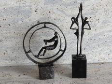 2 bronze sculptures with monogram on matching pedestals, Dutch artists