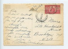 Republic of Italy 1945 - 100 Lira democratic on postcard from Naples to the US, and 100 lire democratic with AMG-FFT overprint on envelope from Trieste to Mantua