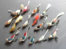 15 antique glass Christmas birds with a glass fibre tail