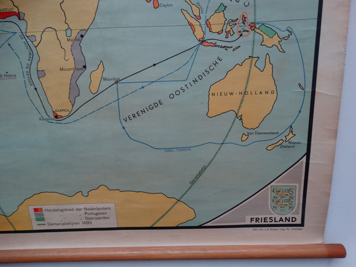 World Map Of The Voyages Discovery Dutch West Indies Company And East