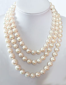 Long cultivated pearl necklace from Indonesia Ø 9.5 - 12.7 mm - endless strung - approx. 127 cm
