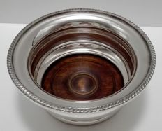A Silver plated bottle holder with wood treated bottom - ENGLAND