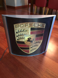 Large exclusive Porsche lightbox 55 x 51cm x 10cm illuminated advertising sign lamp - xxl dealer sign late 1990s