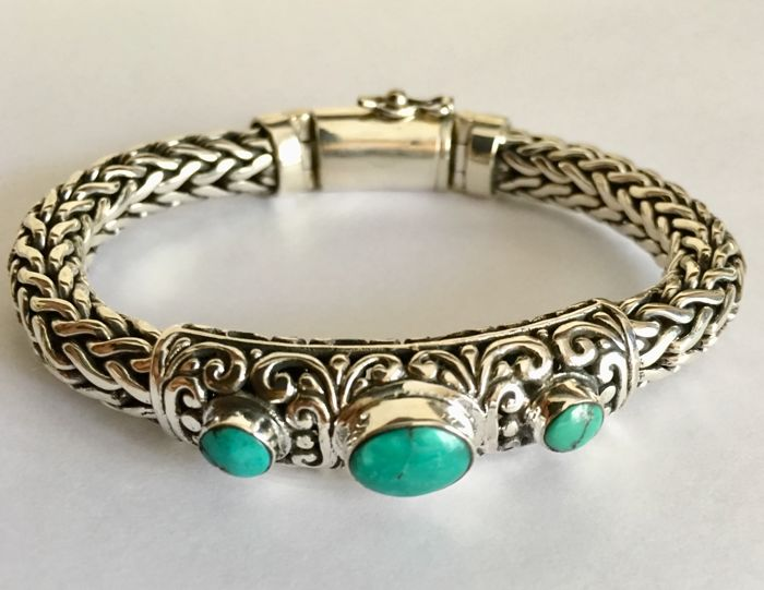 sterling silver snake bracelet with turquoise stones