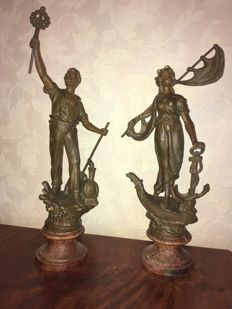 2 French zamac sculptures in good condition