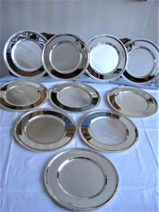 10 large silver plated under plates with pearl rim, in case - BMF west Germany - ca. 1960