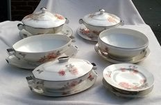 Porcelaine de Sologne Lamotte France, porcelain dishes and terrines with serving plates/dishes