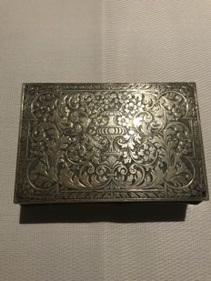 Box in carved wood and silver - Italy, early 20th century