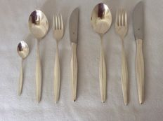 Silver plated, 6 person cutlery, WMF Germany 1965