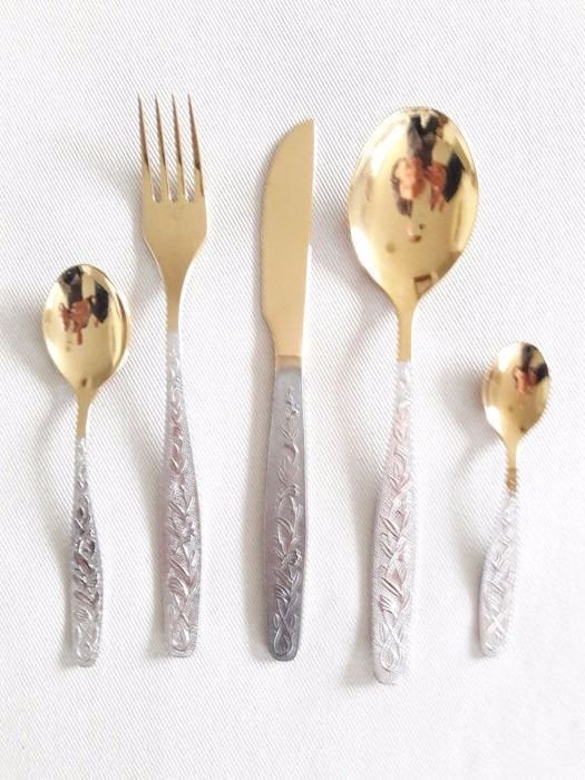 Decorative and unusual Russian cutlery set - partially hard gold plated - 61 pieces & Decorative and unusual Russian cutlery set - partially hard gold ...