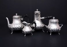 Sterling silver 4 piece service coffee -tea, Martial Gauthier, France, 1888-1902.