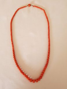 Precious coral necklace with precious coral gold clasp.