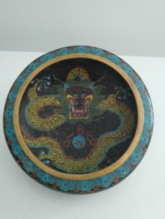 Basin in cloisonné enamel on copper with dragon decoration - China - circa 1920