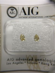 Lot of 2 Pear cut diamonds total 0.35 ct Fancy Brownish Yellow VS1-SI2    No Reserve Price