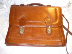 Vintage briefcase, leather bag, 1970s