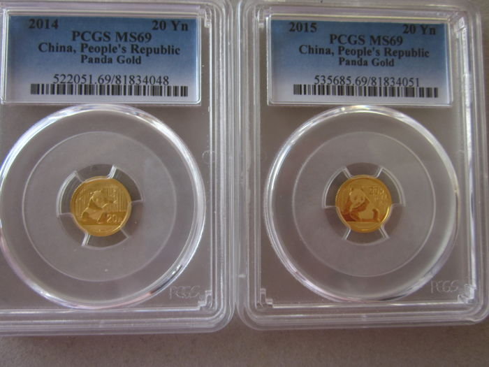 China - 20 Yuan 2014 and 2015 Panda (lot of 2 coins) 1/20 ounce of gold